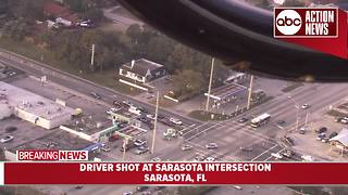 Driver shot at Sarasota intersection, deputies search for gunman - Video