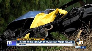 Horror on the highway in crash that killed young woman - Video