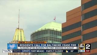 Residents call for weekend ceasefire in Baltimore