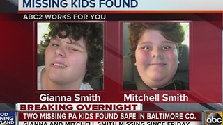 Two missing PA kids found safe in Baltimore County