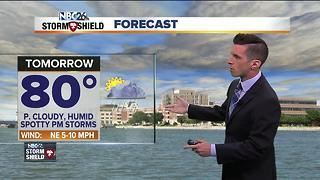 Humid with spotty storms Monday - Video