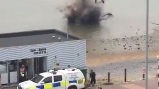 WWII Bomb Detonated Close to Shore in Southend - Video