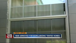 Man burglarizing tented homes