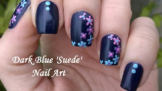 Dark Blue Suede Effect Based Floral Nail Art Using Toothpick