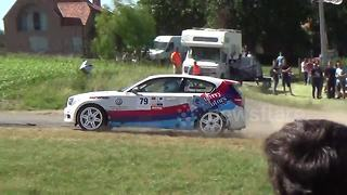 BMW crashes at rally in Belgium - Video