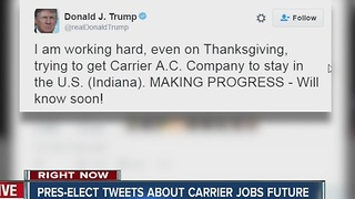President-elect Donald Trump Tweets abotu Carrier jobs future