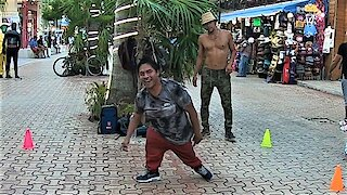 Impressive street performer won't let his physical challenge slow him down