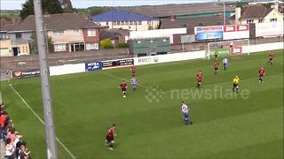 Non-league footballer humiliates opponent with cheeky nutmeg - Video