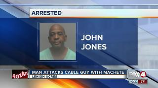 Man uses Machete to Attack Cable Guy - Video