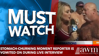 Stomach-churning moment reporter is vomited on during live interview