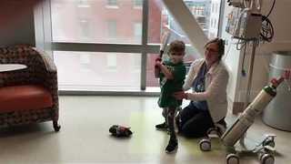 Little Boy Shows His Baseball Skills From His Hospital Room - Video