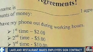 Lakeland restaurant makes employees sign contract - Video