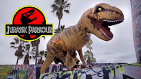 Jurassic Parkour: T-Rex does flips at Venice Beach
