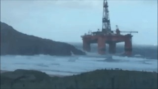 Oil Rig Runs Aground in Scotland Following Storms - Video