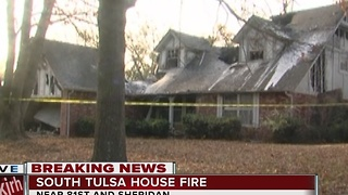 Firefighters battle house fire near 81st and Sheridan in south Tulsa - Video