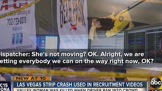 Vegas police using 911 calls of woman driving car onto strick in recruitment video - Video