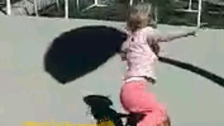 Little girl tries to play basketball like a big kid - Regrets it!!