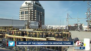 Setting up for the downtown Indy fireworks - Video