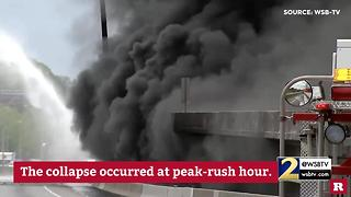 Massive blaze causes bridge collapse during rush hour | Rare News - Video