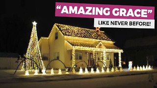 He Puts White Christmas Lights All Over His Home, Keep Your Eye On The Red Star - Video