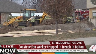 Man trapped in collapsed trench in Belton - Video
