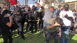 Antifa Scum Assault Small Group of Trump Supporters in San Diego
