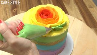 How To Make Rainbow Rose Cake - Video
