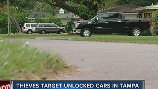 Thieves target unlocked cars in Tampa - Video