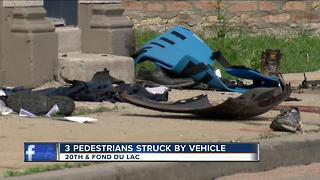 Three pedestrians struck by vehicle - Video