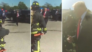 Trump stops motorcade to personally thank firefighters in sweltering NY heat - Video