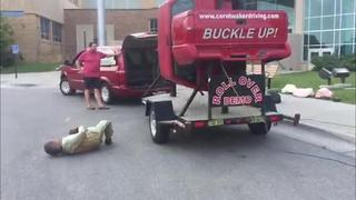 High school students see graphic car rollover demonstration - Video
