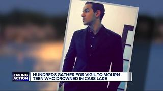 Hundreds gather for vigil to mourn teen who drowned in Cass Lake - Video