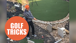 Teenage golf star potted a ridiculously complicated 15-part trick shot