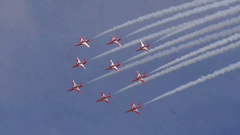 Fantastic Red Arrows At Torbay Airshow