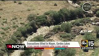 Mayer evacuations lifted after flooding from storms - Video