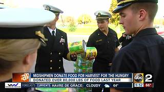 Naval Academy Midshipmen donate thousands of pounds of food - Video