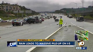 Rain leads to massive pile-up on Interstate 5