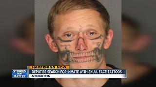 Central California deputies search for inmate with unusual face tattoos - Video