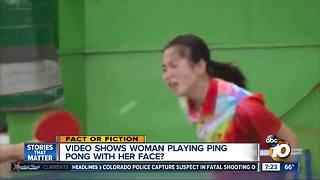 Woman plays ping pong with her head? - Video