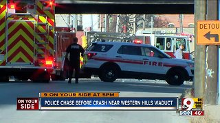 Police chase ends in crash near viaduct - Video