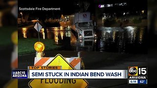 Truck driver rescued from water in Indian Bend Wash