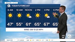 Metro Detroit Forecast: Sunny and warm today, but a cold blast is coming