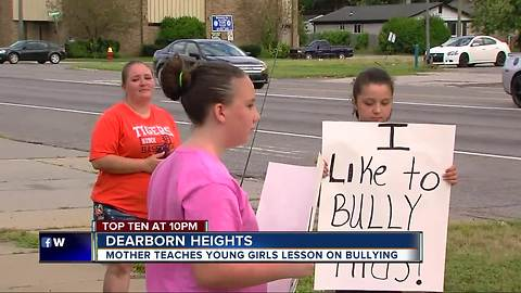 Mother teaches young girls lesson on bullying