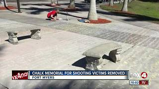 Student creates chalk art honoring mass shooting victims