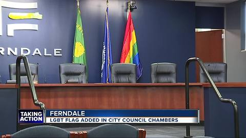 Ferndale Installs New LGBT Pride Flag In Council Chamber