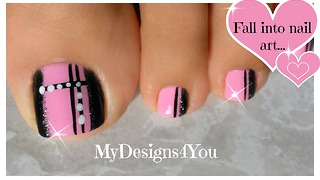 Quick Toenail Design | Pink and Black Pedicure - Video