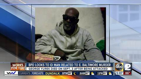 Police looking to ID man related to east Baltimore homicide