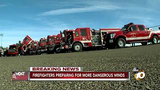 Fire crews preparing for more dangerous winds - Video
