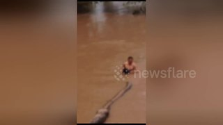 Motorist strips off to rescue drowning dog from flooded rive - Video