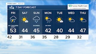 Fog and drizzle continue Thursday afternoon, with temps in the 50s